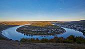 Blick vom Gedeonseck auf die Rheinschleife von Boppard, Rhein, Mittelrhein, Unesco-Welterbe Oberes Mittelrheintal, Rheinland-Pfalz, Deutschland, Europa