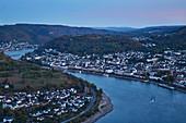 View from Gedeonseck to Boppard, sunset, Rhine, Middle Rhine, Unesco World Heritage Upper Middle Rhine Valley, Rhineland-Palatinate, Germany, Europe