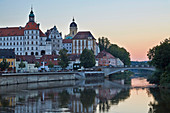 Castle and castle church in Neuburg an der Donau, sunset, Bavaria, Germany, Europe