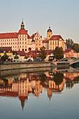 Castle and castle church in Neuburg an der Donau, sunrise, Bavaria, Germany, Europe