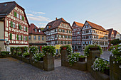 Half-timbered houses in the old town of Mosbach, Baden-Wuerttemberg, Germany, Europe