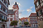 Fachwerk in der Altstadt von Mosbach, Baden-Württemberg, Deutschland, Europa