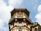 Quartiere Coppeda, Rome, Italy: details of one of the towers of the Palazzi degli Ambasciatori