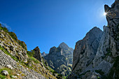 Rock towers limit the Ruta del Cares Gorge, Cares Gorge, Picos de Europa, Picos de Europa National Park, Cantabrian Mountains, Asturias, Spain