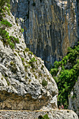 Two people hiking through the Ruta del Cares Gorge, Cares Gorge, Picos de Europa, Picos de Europa National Park, Cantabrian Mountains, Asturias, Spain
