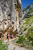 Several people hiking through the Ruta del Cares gorge, Cares Gorge, Picos de Europa, Picos de Europa National Park, Cantabrian Mountains, Asturias, Spain