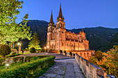 Illuminated Basilica of Covadonga, Covadonga, Picos de Europa, Picos de Europa National Park, Cantabrian Mountains, Asturias, Spain