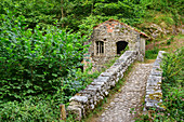 Stone bridge leads to house, Picos de Europa, Picos de Europa National Park, Cantabrian Mountains, Asturias, Spain