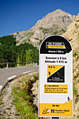 Information board for cyclists at Col d'Izoard, Cottian Alps, Hautes-Alpes, France