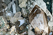 Smoky quartz found on the Grimsel Pass, Grimsel Pass, UNESCO World Natural Heritage Jungfrau-Aletsch, Bernese Alps, Switzerland