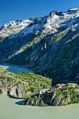 View of Grimselsee, Grimselhospiz and Räterichsbodensee, UNESCO World Natural Heritage Jungfrau-Aletsch, Bernese Alps, Switzerland