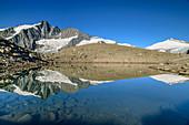 Großglockner and Johannisberg are reflected in mountain lake, Glockner Group, Hohe Tauern, Hohe Tauern National Park, Carinthia, Austria