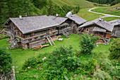 Traditional alpine settlement with wooden houses, Aussergschlöß, Venediger Group, Hohe Tauern, Hohe Tauern National Park, East Tyrol, Austria