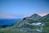Sudetendeutsche Hütte and Nussingkogel at dusk, Sudetendeutsche Hütte, Granatspitzgruppe, Hohe Tauern, Hohe Tauern National Park, East Tyrol, Austria