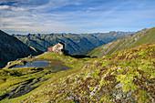 Bergsee und Sudetendeutsche Hütte vor Venedigergruppe, Granatspitzgruppe, Nationalpark Hohe Tauern, Osttirol, Österreich