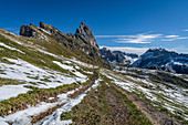 Hiking trail on Seceda in the South Tyrolean Dolomites, Italy