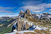 The famous peaks of the Seceda in the South Tyrolean Dolomites in Italy