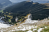Gondola going up to the Seceda in South Tyrol, Italy