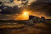Sunrise in the Breatgne near the Gouffre, Plougrescant, Cote de Granit Rose, Cotes d'Armor, Brittany, France