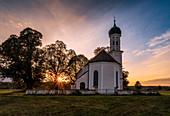 St. Andreas in October evening light, Etting, Polling, Upper Bavaria, Bavaria, Germany