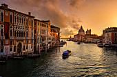 Grand Canal in early morning light with Palazzo Cavalli-Franchetti and Santa Maria della Salute, Venice, UNESCO World Heritage Site Venice, Veneto, Italy