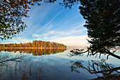 Autumn morning at the Osterseen, Upper Bavaria, Bavaria, Germany