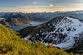 Ausblick vom Herzogstand auf den Alpenhauptkamm, Alpen, Oberbayern, Bayern, Deutschland
