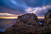 Sunset in the Breatgne near the Gouffre, Plougrescant, Cote de Granit Rose, Cotes d'Armor, Brittany, France