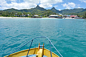 RAROTONGA - DEC 29 2017:Landscape view of Avarua town as view from a boat. Avarua is the capital of the Cook Islands