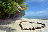 A romantic heart made out of coconuts on the beach in Rarotonga, Cook Islands. Copy space