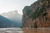 View of the Qutang Gorge in morning light, which is the shortest and most spectacular of Chinas Three Gorges, on the Yangtze River, China.
