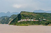 View of houses near Badong on the Yangtze River at the Wu Gorge (Three Gorges) in China.