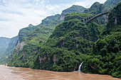 Landscape with a bridge along the Yangtze River at the Xiling Gorge (Three Gorges) in China.