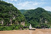 Traditional sailboats once used for transporting goods on the Yangtze River at the Xiling Gorge (Three Gorges) in China.