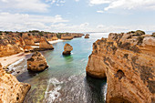 Steep coast at Praia da Dona Ana near Lagos, Algarve, Faro, Portugal