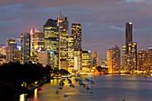 Brisbane skyline at dusk, Queensland, Australia