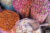 Dried flower petals and herbs at Dubai Spice Souk, UAE