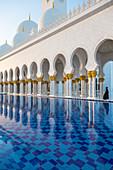 Water pool at the Sheikh Zayed Mosque, Abu Dhabi, United Arab Emirates