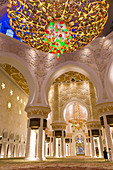 Main dome inside the prayer hall of Sheikh Zayed Bin Sultan Al Nahyan Mosque, Abu Dhabi, United Arab Emirates