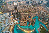 View from the Burj Khalifa of downtown Dubai and the fountain pool, United Arab Emirates, UAE
