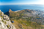 Cable car and view over Cape Town, Table Mountain, Cape Town, Western Cape, South Africa