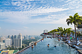Infinity pool on hotel rooftop in Singapore