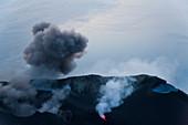 Volcanic eruption with black smoke, Stromboli Volcano, Stromboli Island, Aeolian Islands, Sicily, South Italy