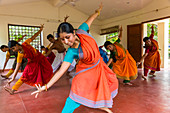 Students of traditional Indian dance in class, Chennai (Madras), Tamil Nadu, India