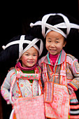 Young Long Horn Miao girls, Sugao, Guizhou Province, China
