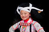 Portrait of a Long Horn Miao girl, Sugao, Guizhou Province, China