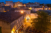Restaurant & main square, dusk, St. Emilion, Gironde, Aquitaine, France