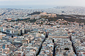Aerial view of the Acropolis and the Parthenon Athens, Greece