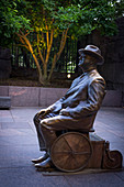 Franklin D Roosevelt statue at the FDR Memorial , Washington DC, USA, North America
