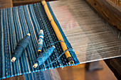 A weaving loom at a weavers home in Teotitlan del Valle, a small town in the Valles Centrales Region near Oaxaca, southern Mexico.